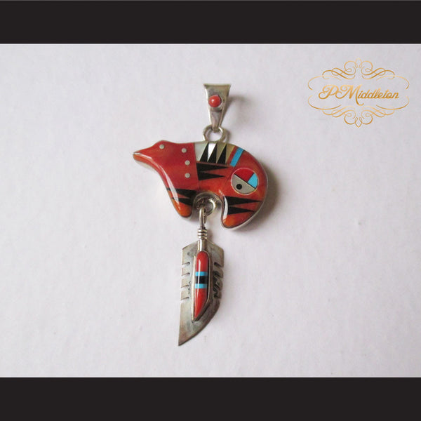 P Middleton Red Bear Pendant Sterling Silver .925 with Micro Inlay Stones - borizcustom