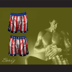 Sylvester Stallone Rocky Balboa American Flag Boxing Shorts All Sizes - borizcustom - 3