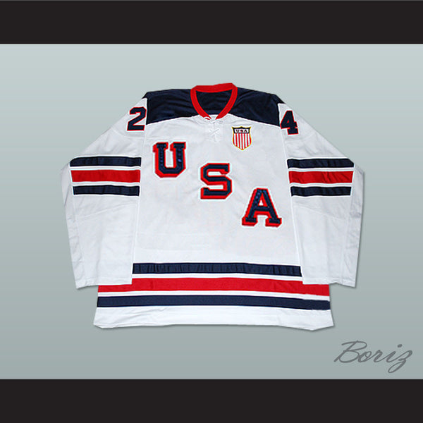 Ryan Callahan 24 USA National Team Hockey Jersey New 1960 Tribute Style - borizcustom
