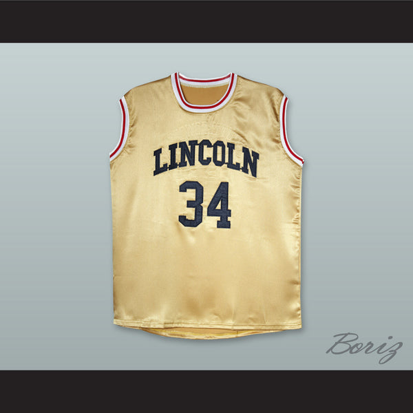 01dcb2d16 Product Image Jesus Shuttlesworth 34 Lincoln Gold Silk Basketball Jersey -  borizcustom ...