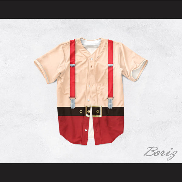 Santa Claus Tunic Shirtless Suspenders Baseball Jersey