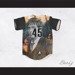 Al Pacino Tony Montana 45 Scarface Burning Baseball Jersey