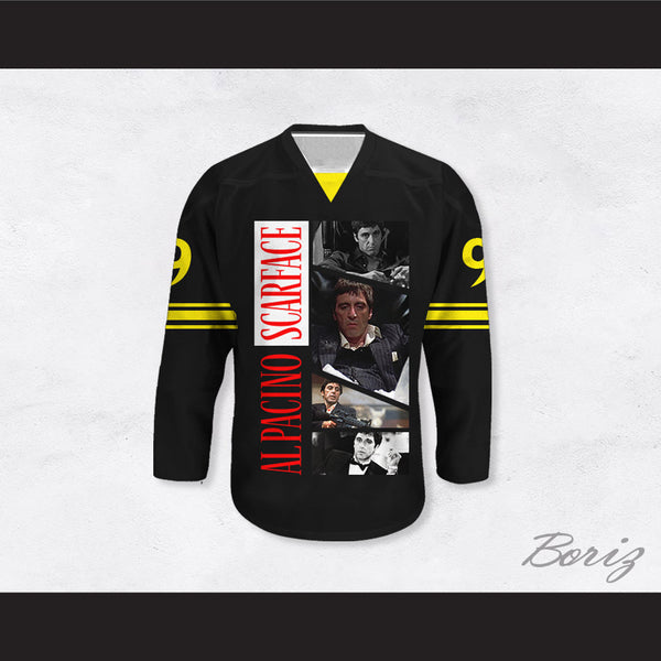 Al Pacino 9 Scarface Movie Scenes Black Hockey Jersey
