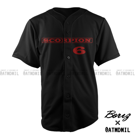 Scorpion Baseball Jersey (Black & Red)
