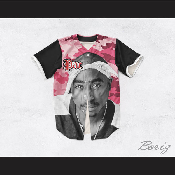 Tupac Shakur 16 Bandana Pink Camouflage with Black Sleeves Baseball Jersey
