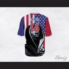 Tupac Shakur 16 Resurrection American Flag Football Jersey