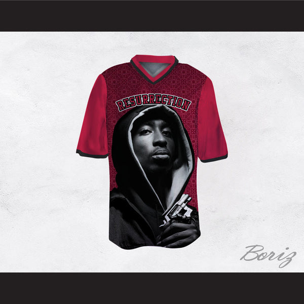 Tupac Shakur 16 Resurrection Maroon Pattern Football Jersey