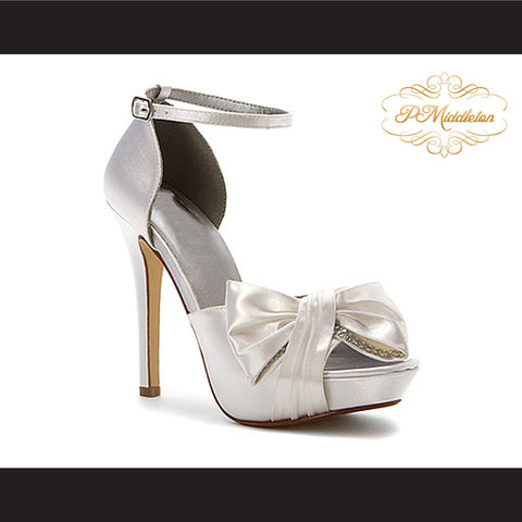 P Middleton White Satin Ankle Strap Pumps Rhinestone Accents Elegant Women's Shoes - borizcustom