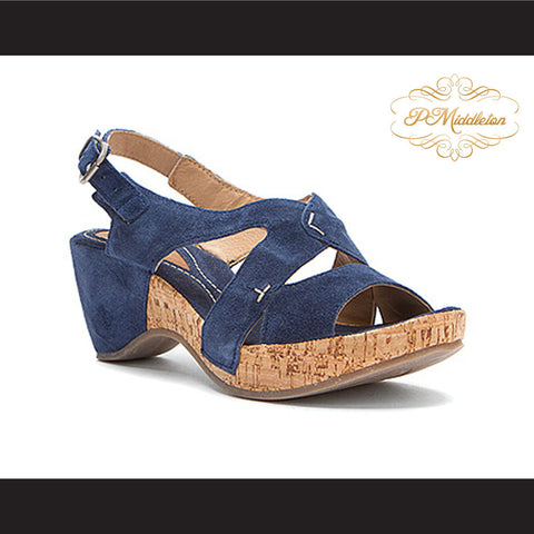 P Middleton Slingback Blue Suede Warm Weather Sandal Women's Shoes - borizcustom