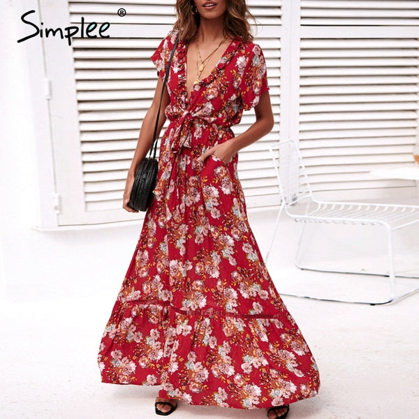 be36f7ac1fdbf Simplee Sexy deep v neck floral print dress women Boho bow tie red maxi  dresses Summer ethnic beach holiday long vestidos 2019