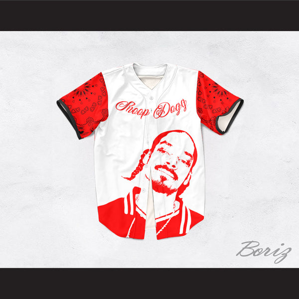 Snoop Dogg 55 Westside White and Red Bandana Sleeves Baseball Jersey