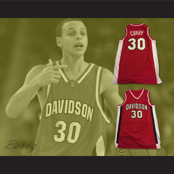 new styles 42ce3 fccad Stephen Curry 30 Davidson Wildcats Red Basketball Jersey