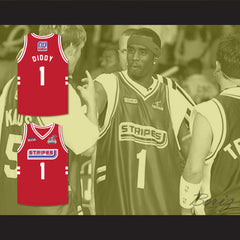 P Diddy 1 Stripes Basketball Jersey Rock N' Jock All Star Jam 2002