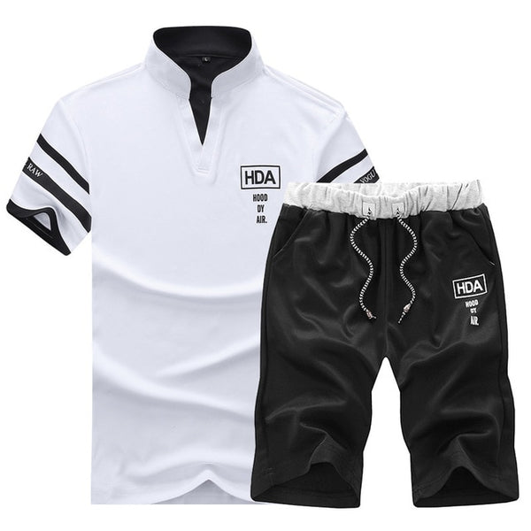 Summer Polo Shirt Mens Short Sleeve Polo Shorts Suit Male Solid Jers Borizcustom