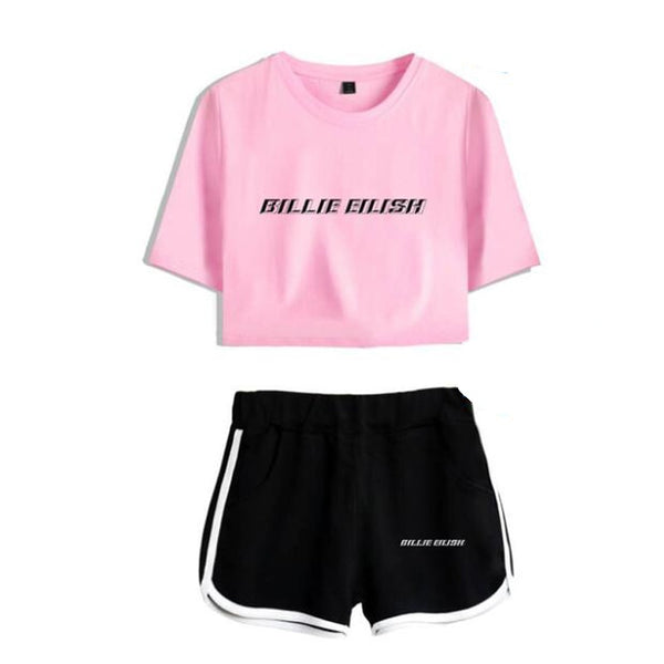 Summer Women S Sets Kpop Billie Eilish Short Sleeve Crop Top Shorts Borizcustom