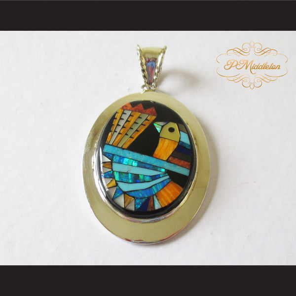 P Middleton Turkey Pendant Sterling Silver .925 with Micro Stone Inlay - borizcustom - 1