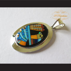 P Middleton Turkey Pendant Sterling Silver .925 with Micro Stone Inlay - borizcustom - 2