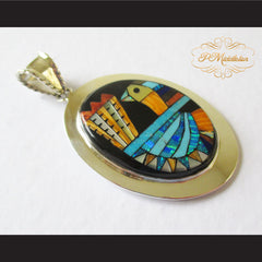 P Middleton Turkey Pendant Sterling Silver .925 with Micro Stone Inlay - borizcustom - 3