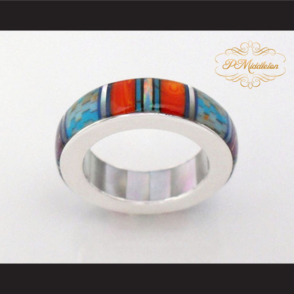 P Middleton Turquoise Multi-Color Micro Inlay Sterling Silver .925 Band Ring - borizcustom - 1