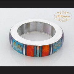 P Middleton Turquoise Multi-Color Micro Inlay Sterling Silver .925 Band Ring - borizcustom - 2