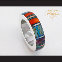 P Middleton Turquoise Multi-Color Micro Inlay Sterling Silver .925 Band Ring - borizcustom - 3