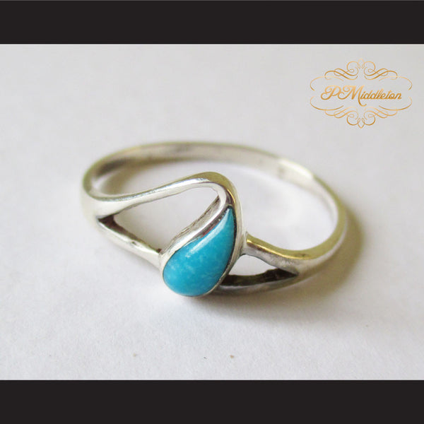 P Middleton Teardrop Turquoise Ring Sterling Silver 925 - borizcustom - 1