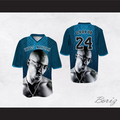 Tupac Shakur 24 Thugs Mansion Blue Pattern Design Football Jersey
