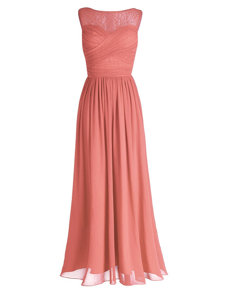 TiaoBug Coral Apricot Women Ladies Chiffon Lace Bridesmaid Dress Long