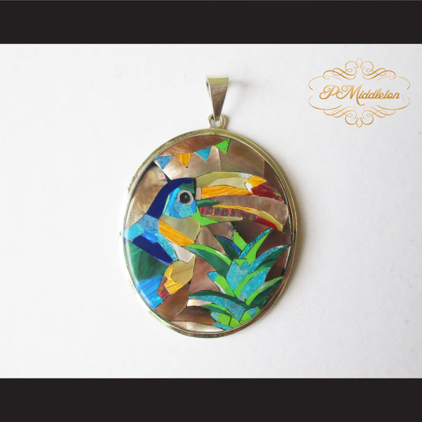 P Middleton Toucan Bird Pendant Sterling Silver .925 with Micro Stone Inlay - borizcustom - 1