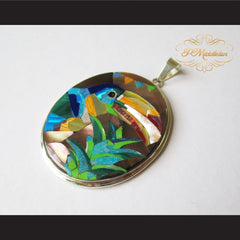 P Middleton Toucan Bird Pendant Sterling Silver .925 with Micro Stone Inlay - borizcustom - 2