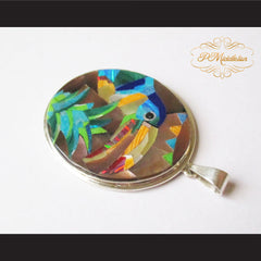 P Middleton Toucan Bird Pendant Sterling Silver .925 with Micro Stone Inlay - borizcustom - 4