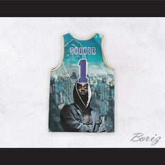 Tupac Shakur 1 I Get Around Cityscape Blue Sky Basketball Jersey