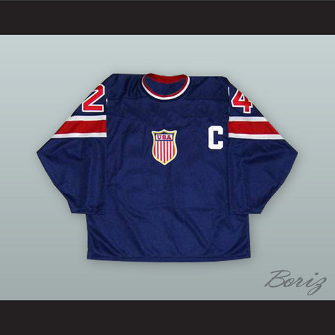 1932 Throwback Chris Chelios 24 USA National Team Dark Blue Hockey Jersey