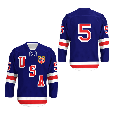 1960 Herb Brooks 5 USA Hockey Jersey with Patch Colors