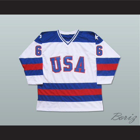 1980 Miracle On Ice Team USA Bill Baker 6 Hockey Jersey New - borizcustom