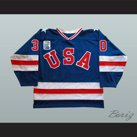 1980 Miracle On Ice Team USA Jim Craig 30 Hockey Jersey Blue with Patch - borizcustom