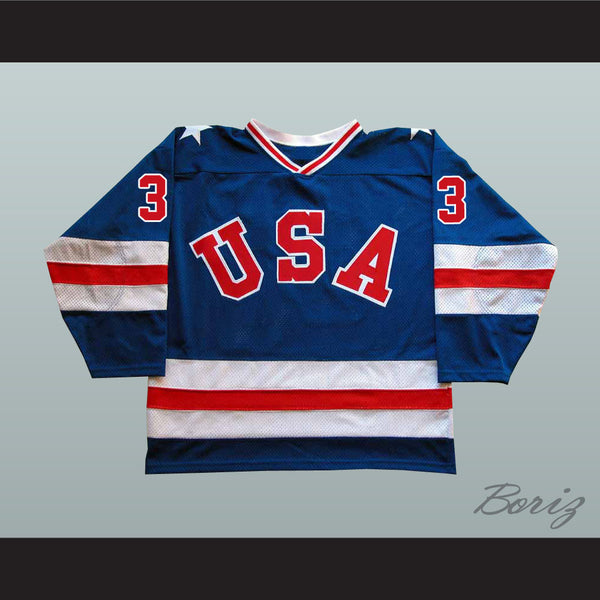 1980 Miracle On Ice Team USA Ken Morrow 3 Hockey Jersey New - borizcustom
