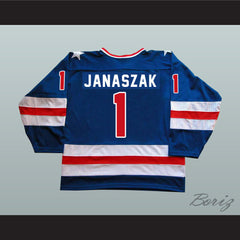 1980 Miracle On Ice Team USA Steve Janaszak 1 Hockey Jersey New - borizcustom