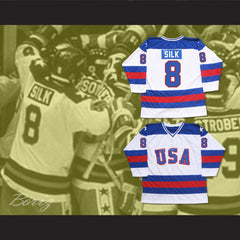 1980 Miracle On Ice Team USA Dave Silk 8 Hockey Jersey New - borizcustom