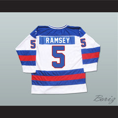 1980 Miracle On Ice Team USA Mike Ramsey 5 Hockey Jersey New - borizcustom