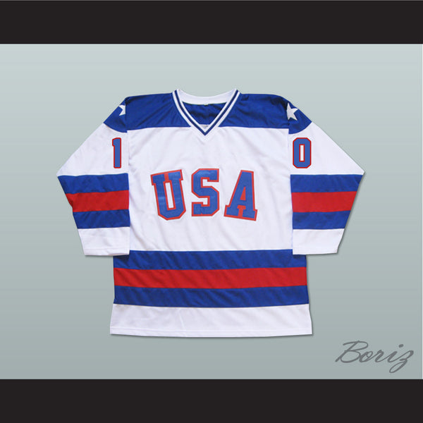 1980 Miracle On Ice Team USA Mark Johnson 10 Hockey Jersey New - borizcustom