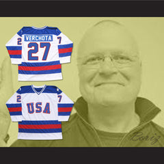 1980 Miracle On Ice Team USA Phil Verchota 27 Hockey Jersey New - borizcustom