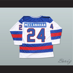 1980 Miracle On Ice Team USA Rob McClanahan 24 Hockey Jersey New - borizcustom