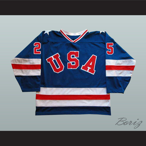 1980 Miracle On Ice Team USA Buzz Schneider 25 Hockey Jersey New - borizcustom