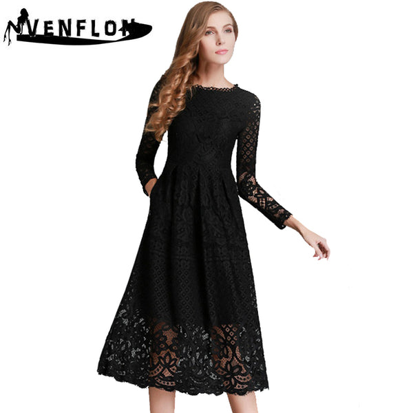 4579bc6c97bc6 VENFLON Long Spring Summer Dress Women 2019 Elegant Sexy Hollow Out Black  White Lace Dress Female Vintage A-Line Party Dress