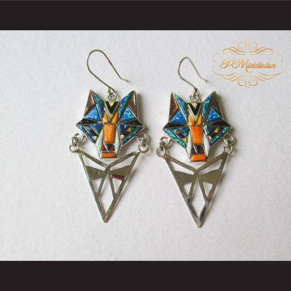 P Middleton Wolf Earrings Sterling Silver .925 with Micro Inlay Stones - borizcustom