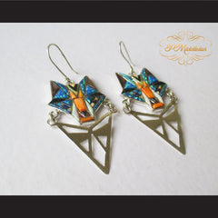 P Middleton Wolf Earrings Sterling Silver .925 with Micro Inlay Stones - borizcustom - 3