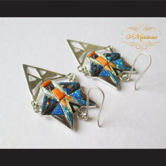 P Middleton Wolf Earrings Sterling Silver .925 with Micro Inlay Stones - borizcustom - 4