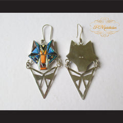 P Middleton Wolf Earrings Sterling Silver .925 with Micro Inlay Stones - borizcustom - 5