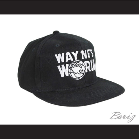 Mens Adjustable Black Baseball Cap Wayne's World Hat New - borizcustom